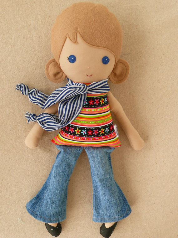 Fabric Doll Rag Doll Girl in Colorful Top, Jeans, and Scarf.  Love this Etsy Shop!