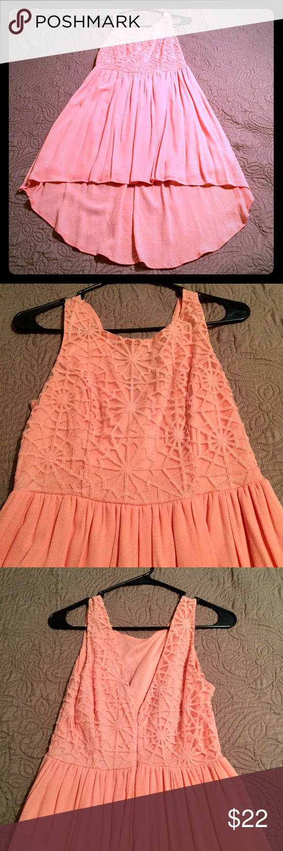 Pink dress with hi-lo hem Worn once to a Kentucky Derby party! Perfect for parties, showers, church, etc. from Francesca's, size S Francesca's Collections Dresses High Low
