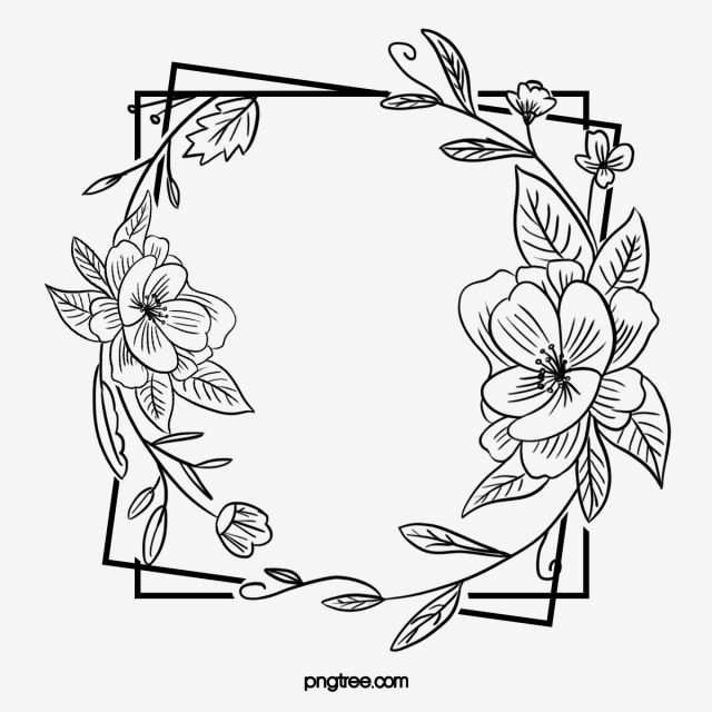 Black Hand Painted Line Side Wedding Decoration With Square Surrounded By Open Pure Flower Border Everlasting Agreement Love Png Transparent Clipart Image An Flower Border Png Flower Border Craft Images