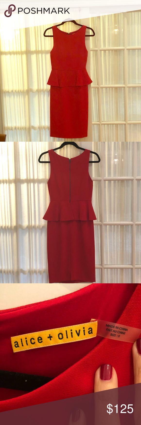 Alice & Olivia Red Peplum Dress Size 0, red Peplum dress Alice + Olivia Dresses Mini