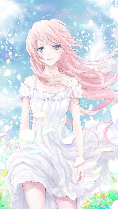 Está es una escena preciosa, el viento haciendo volar los pétalos de flores, el cabello y el vestido de la chica. Todo en tonos pasteles