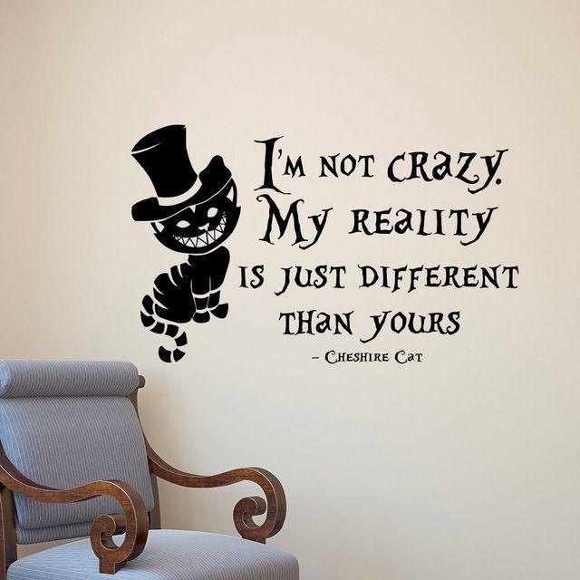 Alice in Wonderland Wall Sticker Cheshire Cat Quotes Vinyl Sticker Wall Art Decorations  – diy dekoration homes