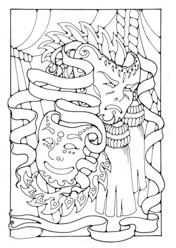Masks Coloring Pages Theatre Drama Pinterest