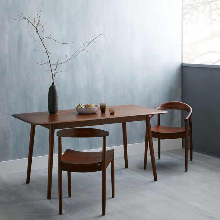 West Elm Lena Mid-Century Dining Table and Lena chairs - but at 76cm h I think the dining table would be too high for you. It is also slight too short at 160cm.