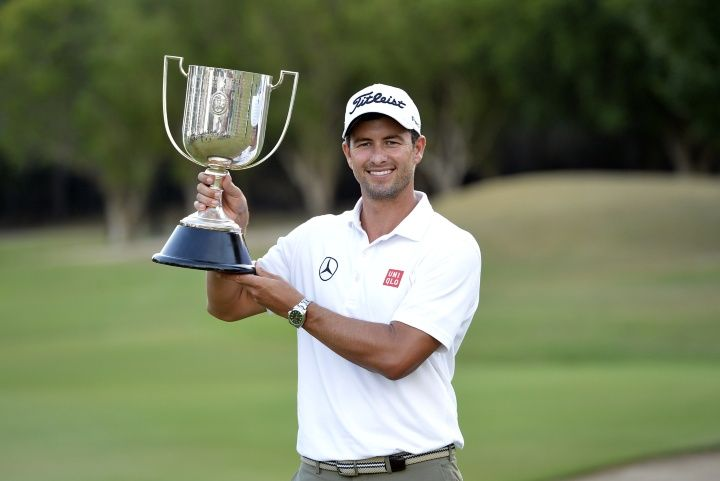 | Adam Scott of Australia holds up the Kirkwood Cup after claiming ...