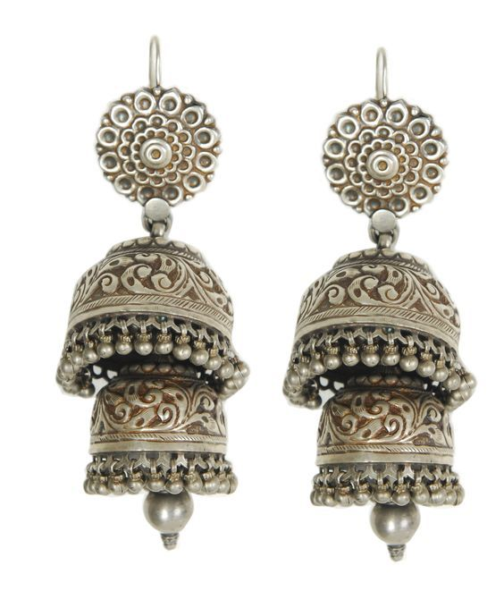 Antique Jewellery, Ethnic Jewelry, Indian Jewellery, Earrings Fashion, Indian Earring, Antique Jewelry, Silver Jhumkas, Antique Silver, Favorite Jewelry