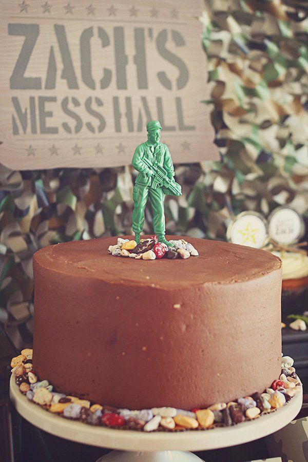 toy soldier topped chocolate rocks birthday cake