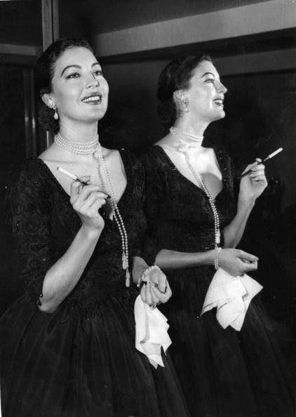 American actress Ava Gardner at a press reception at the Savoy Hotel London