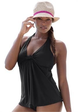 Jessica London's Halter Tankini has an interesting, to me anyway, empire cut. Looks like the drape starting under its tab between our breasts could be especially good at tummy disguising! This tankini does come with a tummy control swim brief in sizes 12 to 26 at OSP. 3/26/14
