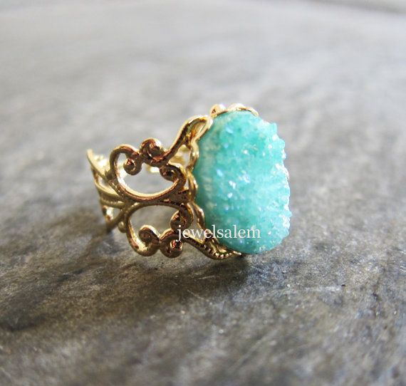 Spring Summer Fashion 2014 Mint Green Druzy Ring Gold Geode Gemstone Drusy Mineral Rustic Statement Aquamarine Teal Turquoise Crystal Raw Quartz Agate Ring Gem Stone