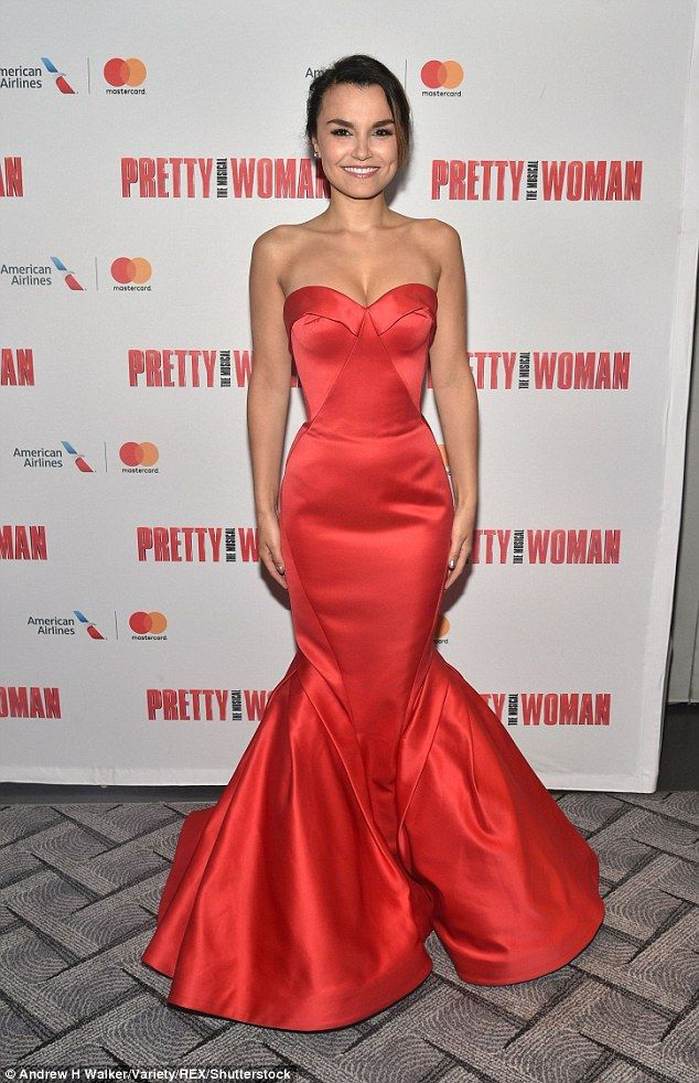 eb904b9ffa Samantha Barks exudes glamour in a striking scarlet fishtail gown .