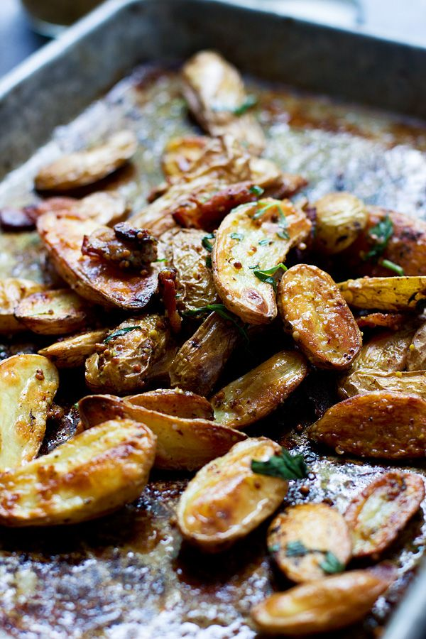 Bacon Roasted Fingerling Potatoes with Stone-Ground Mustard and Tarragon