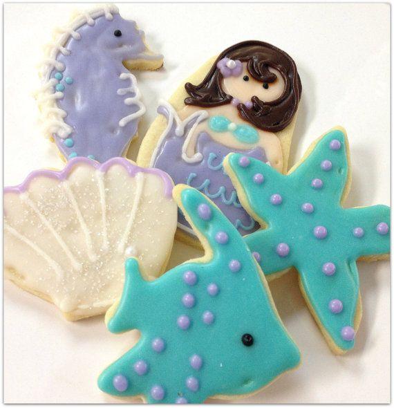 Mermaid Cookies Sea Life Sugar Cookies Iced Decorated Cookie Island Beach Wedding via Etsy