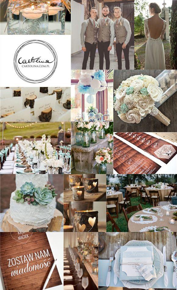 Kolekcja Drewaniana dolina by Cartolina #ślub #drewno #rustykalne #zaproszenia fot. pinterest.com, cartolina.com.pl wedding invitation