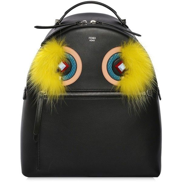 Fendi Women Monster Leather Backpack W/ Fox Fur ($3,150) ❤ liked on Polyvore featuring bags, backpacks, black, leather rucksack, fendi, zipper bag, leather zip backpack and leather bags