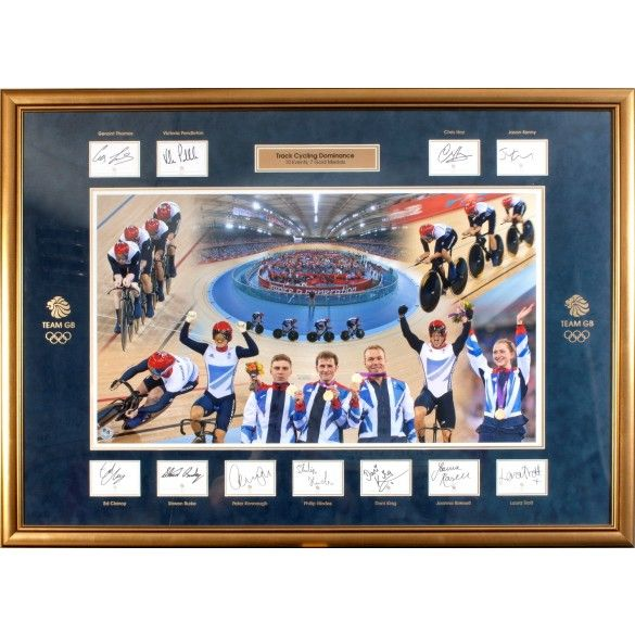 Team GB Track Cycling Team Signed Gold Medal Winners Framed - Dominance
