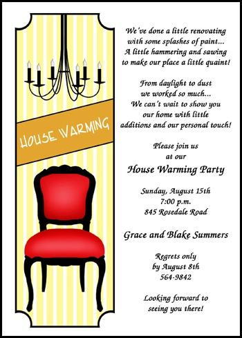 personalize your housewarming party invitations with chandelier and chair at InvitationsByU.com, invitation number 7661IBU-HI and find a variety of special savings, freebies, and discounts