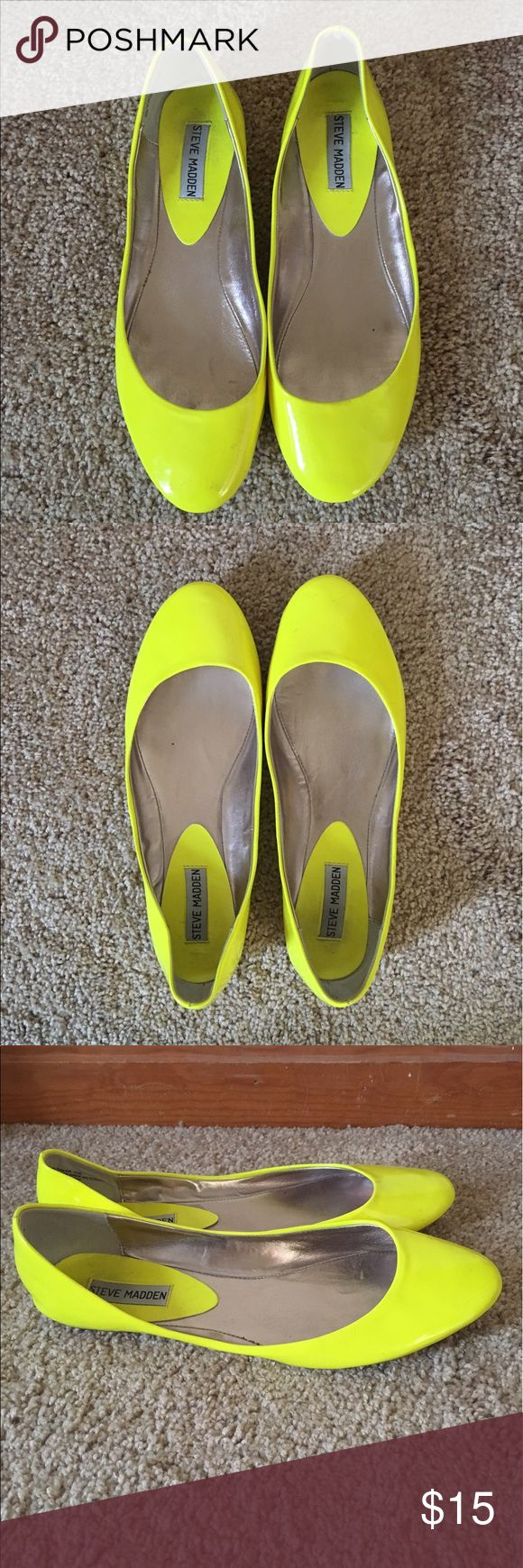 Yellow flats Neon yellow Steve Madden flats. Worn once Steve Madden Shoes Flats & Loafers
