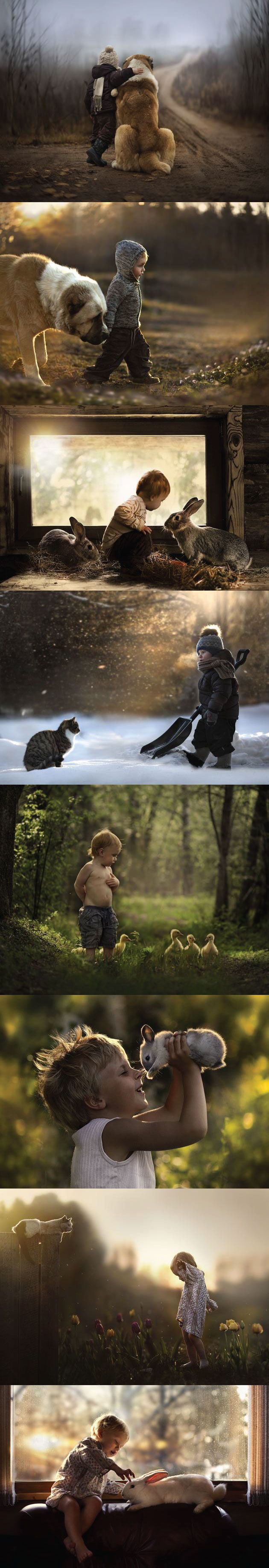 Russian photographer Elena Shumilova's shots of her two sons with all of their animals. These are perfect