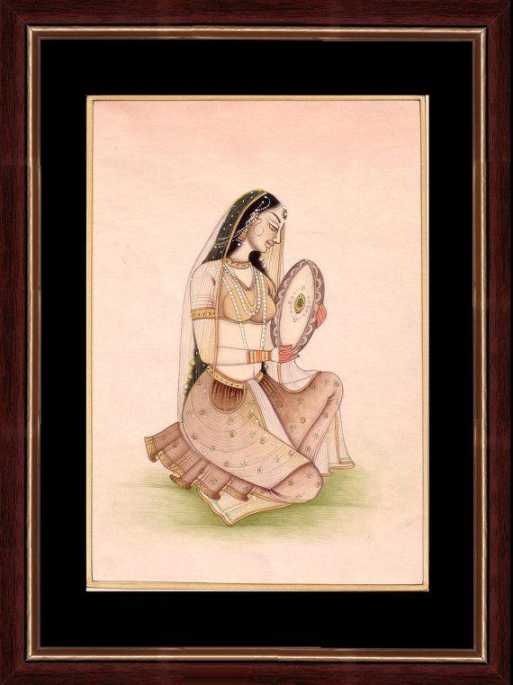retrato del siglo 18 'señora tocando la pandereta' pintura miniatura india en el papel hecho a mano de edad con la elaboración de moldeado
