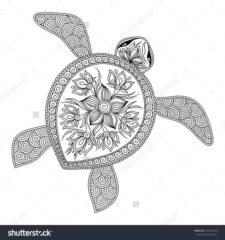 Pattern For Coloring Book Pages Kids And Adults Decorative Graphic Turtle