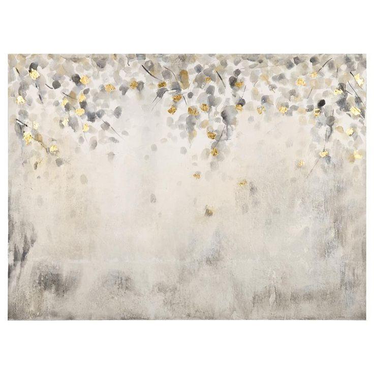 Foil Leaves Oil Painted Canvas