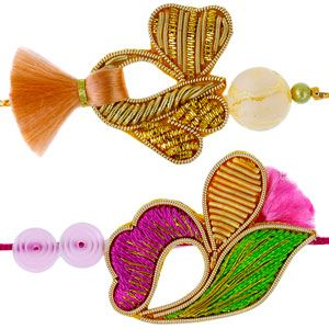 Exclusive high quality set of 2 zardozi rakhis artistically crafted with zardozi work, resham and color beads. The rakhis come with roli and chawal and are beautifully packed in a designer gift bag.  Rs 468/- http://www.tajonline.com/rakhi-gifts/product/rdr76/zardozi-rakhi-set-of-2/?Aff=pint2014/