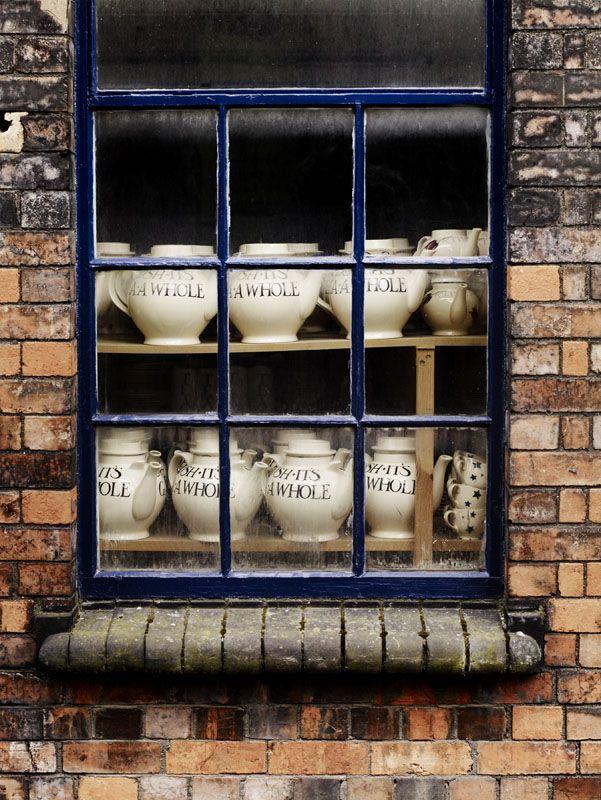 Emma Bridgewater Factory, Stoke-on-trent, England!!! Bebe'!!! Pottery through factory window!!!