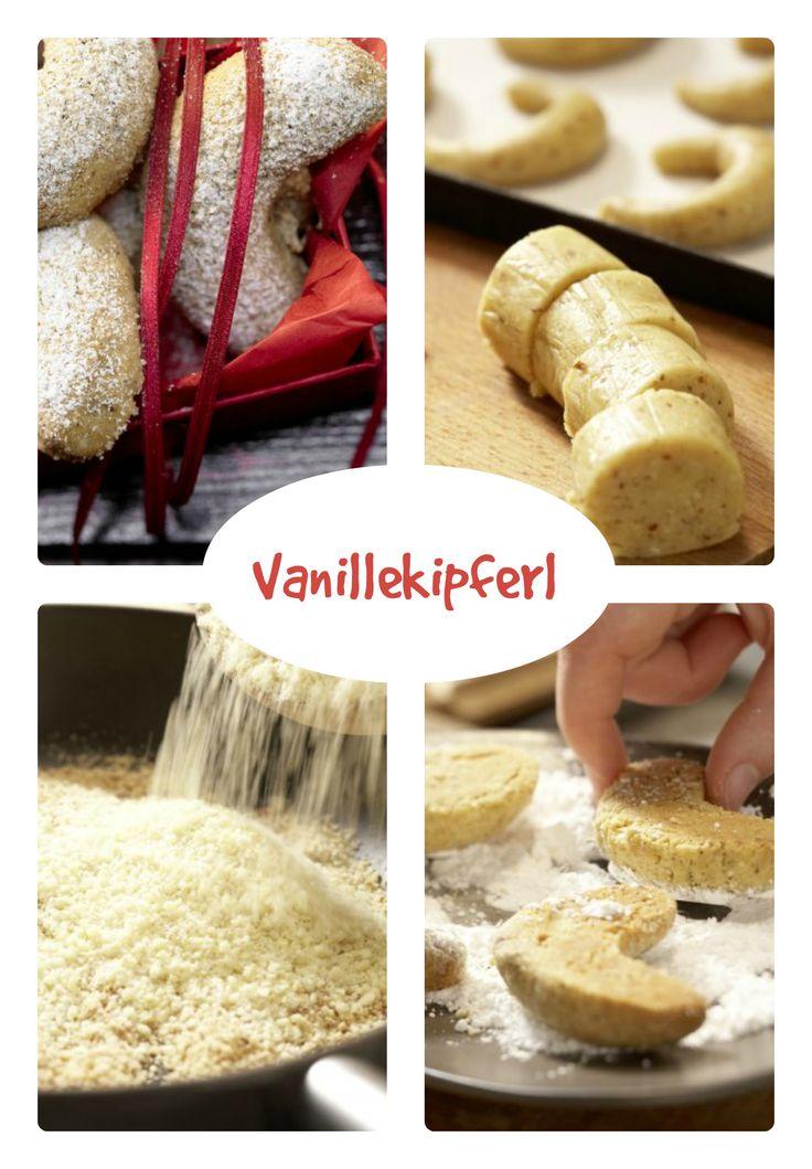 Die heißen Kipferl werden in einer Puderzucker/Vanillemischung gewendet bevor sie auskühlen: Vanillekipferl   http://eatsmarter.de/rezepte/vanillekipferl
