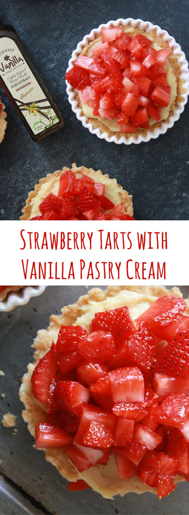 Fresh strawberry tarts with a rich, vanilla bean infused pastry cream!
