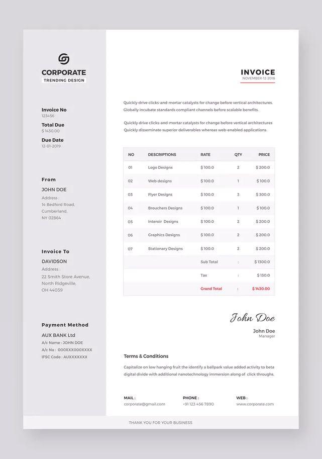 Corporate Invoice Template Ai Eps Invoice Template Brochure Template Templates