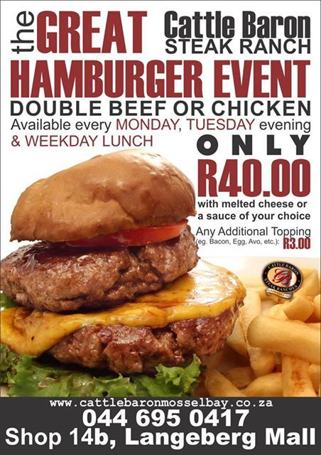 Just a friendly reminder of our weekday special. Cattle Baron Mossel Bay has this magnificent hamburger on special offer at only R40.00 every Monday and Tuesday night as well as during lunch throughout the week. #steakhouse #housespecials #cuisine