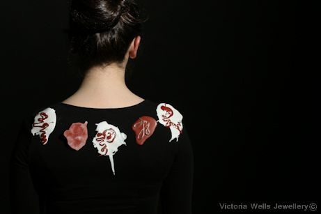 Brooches inspired by paint splashes www.victoriawellsjewellery.co.uk