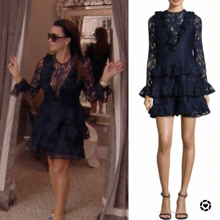 Kyle Richards' Ruffled Lace Dress at her store https://www.bigblondehair.com/kyle-richards-black-lace-dress/ Season 8 Episode 9 Real Housewives of Beverly Hills