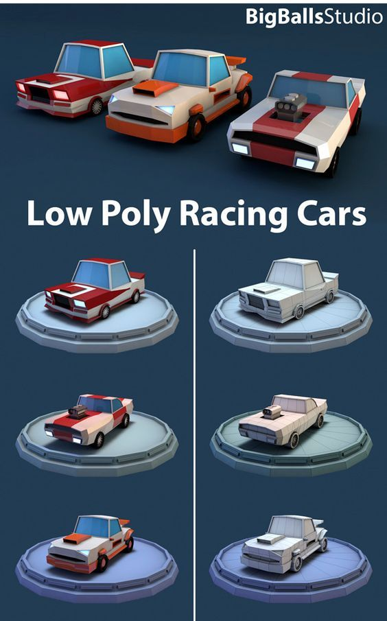 Low Poly Racing Car - 3DOcean Item for Sale: