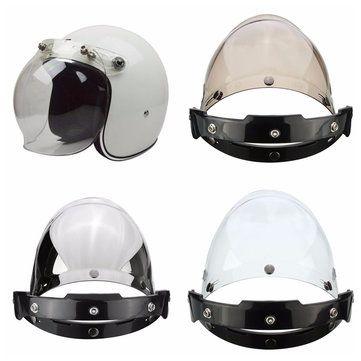 3-Snap Bouton Bubble Visière Flip Up Wind Shield Lens pour Casque de moto 3 Couleur