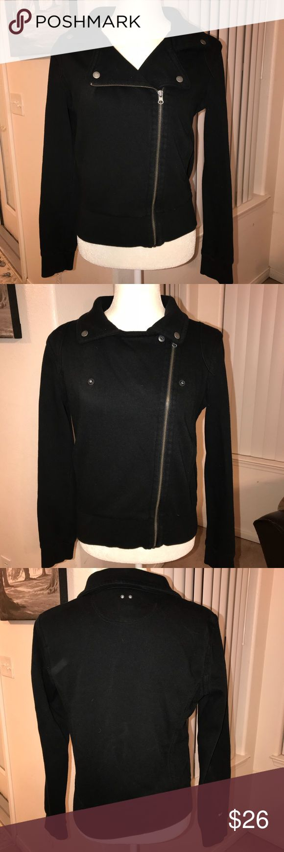 Converse Zip-up Jacket Black, minor fading if any.  Size Medium.  Can be worn more than one way. Zipper off center by design.  Good used condition Converse Jackets & Coats