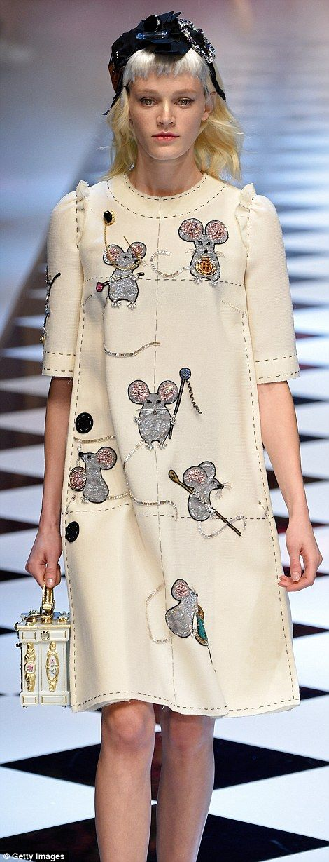 Cinderella took centre stage with mice and birds scattered across model's dresses which ap...