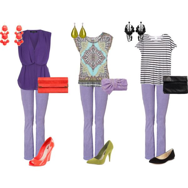 Lavender Jeans - 3 Ways from Polyvore shows a great way to add color and class to lavender aka orchid--the color of the year.