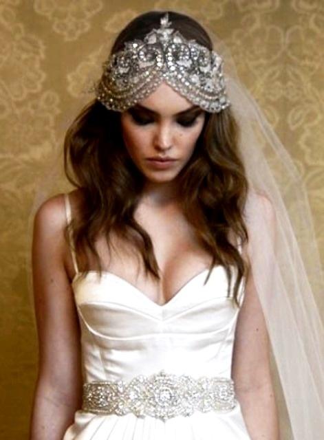 Bride s casual down bridal hair Toni Kami Wedding Hairstyles ♥ ➁ Wedding  hairstyle ideas Swarovski Gatsby wedding flapper headpiece  d1a7b5520ae