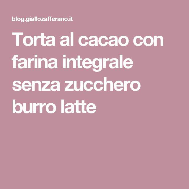 Torta al cacao con farina integrale senza zucchero burro latte