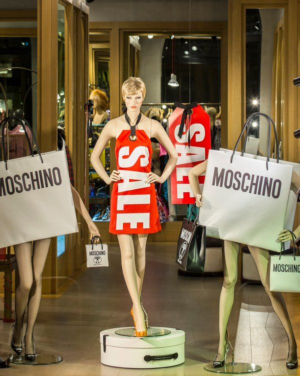 """MOSCHINO,Via Sant'Andrea, Milan,Italy, """"SALE SHOPPING:....half the money...double the fun"""", pinned by Ton van der Veer"""