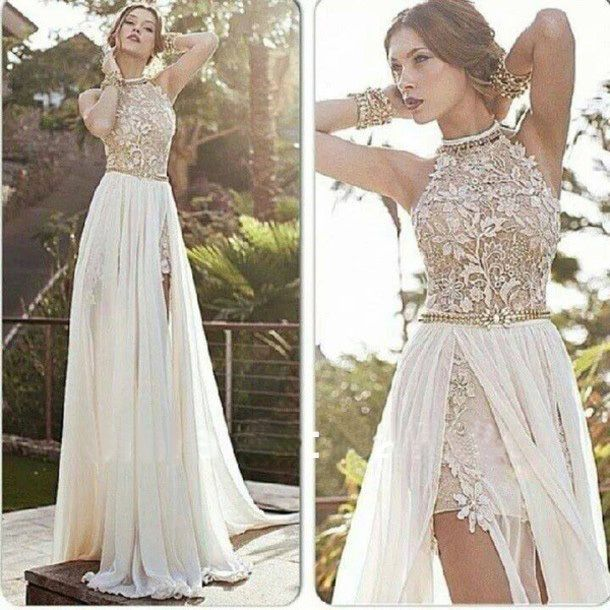 L'arrivée de nouveaux sexy 2014 mousseline blanche perlée appliques de dentelle robes de bal licol côté fente longue robe de soirée de printemps