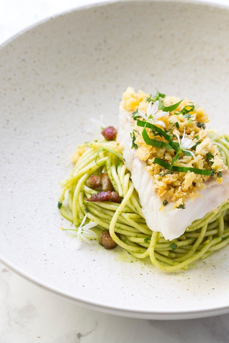 Paul Ainsworth serves up his simple baked cod loin recipe atop a bed of spaghetti, coated in a wild garlic pesto and studded with rich, crispy pancetta.