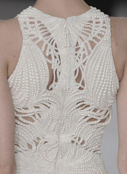 Alexander McQueen 2012 beaded back dress night fashion design women white alexandermcqueen
