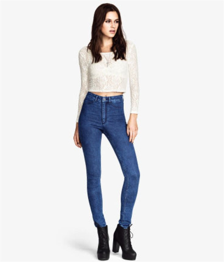 High-waisted denim. H&M spring/summer 2016.   Slim-fit pants in washed superstretch denim with a high waist and slim legs. Mock pockets at front and regular pockets at back.