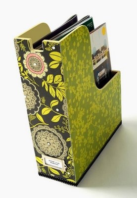 Decoupage a magazine holder. I'd like to make a few for my husband's comic book collection.