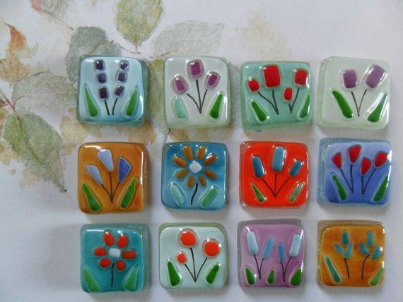 baldosas de vidrio fundido, flores, FLORAL, hecho a mano de mosaico, arte en vidrio, manualidades