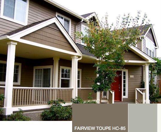Grey House Stone Colored Or Dark Khaki Garage Door And Column