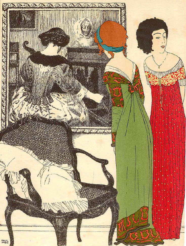 "Pochoir coloured and signed from the book ""Les Robes de Paul Poiret"" (1908) by Paul Iribe"
